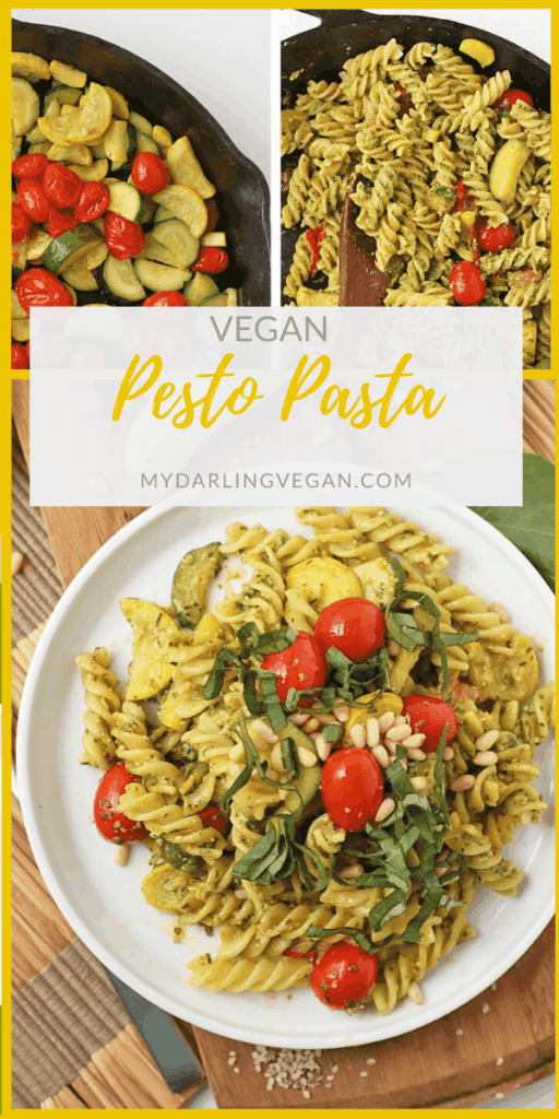 This vegan Pesto Pasta is tossed with sautéed summer squash, zucchini, and cherry tomatoes for a light and refreshing dinner that can be enjoyed all summer long.
