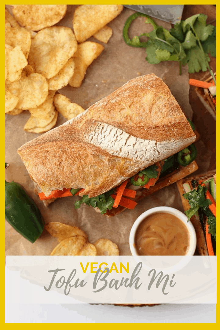 Bite into this meaty and perfectly flavored Tofu Banh Mi with quick pickled carrots and cucumbers and topped with creamy Bánh Mî sauce.