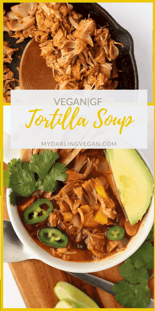 This vegan Tortilla Soup is made with seasoned jackfruit, black beans, corn, and crispy corn tortillas for an easy and delicious soup that can be made in just 30 minutes.