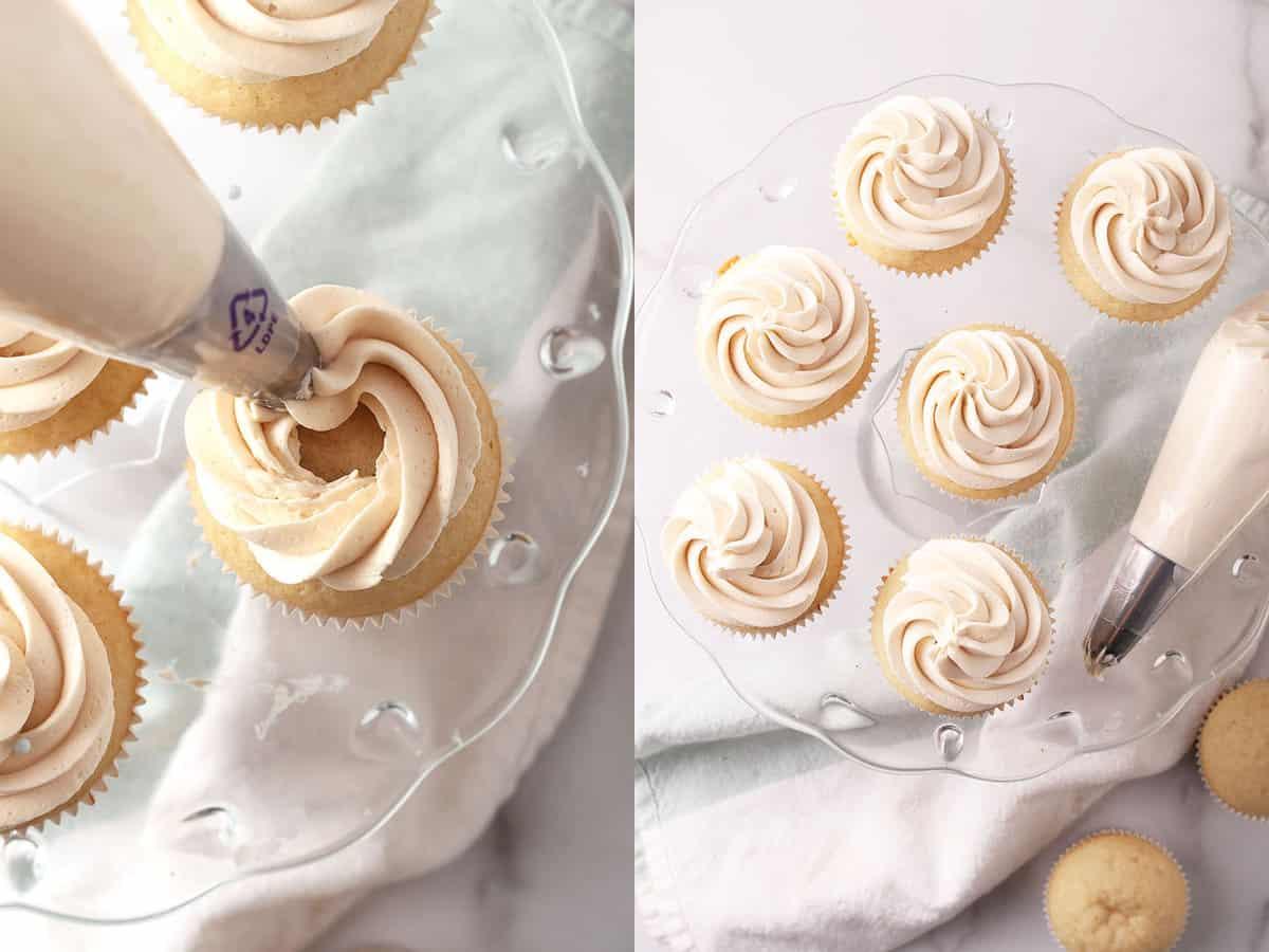 Frosting two vegan vanilla cupcakes