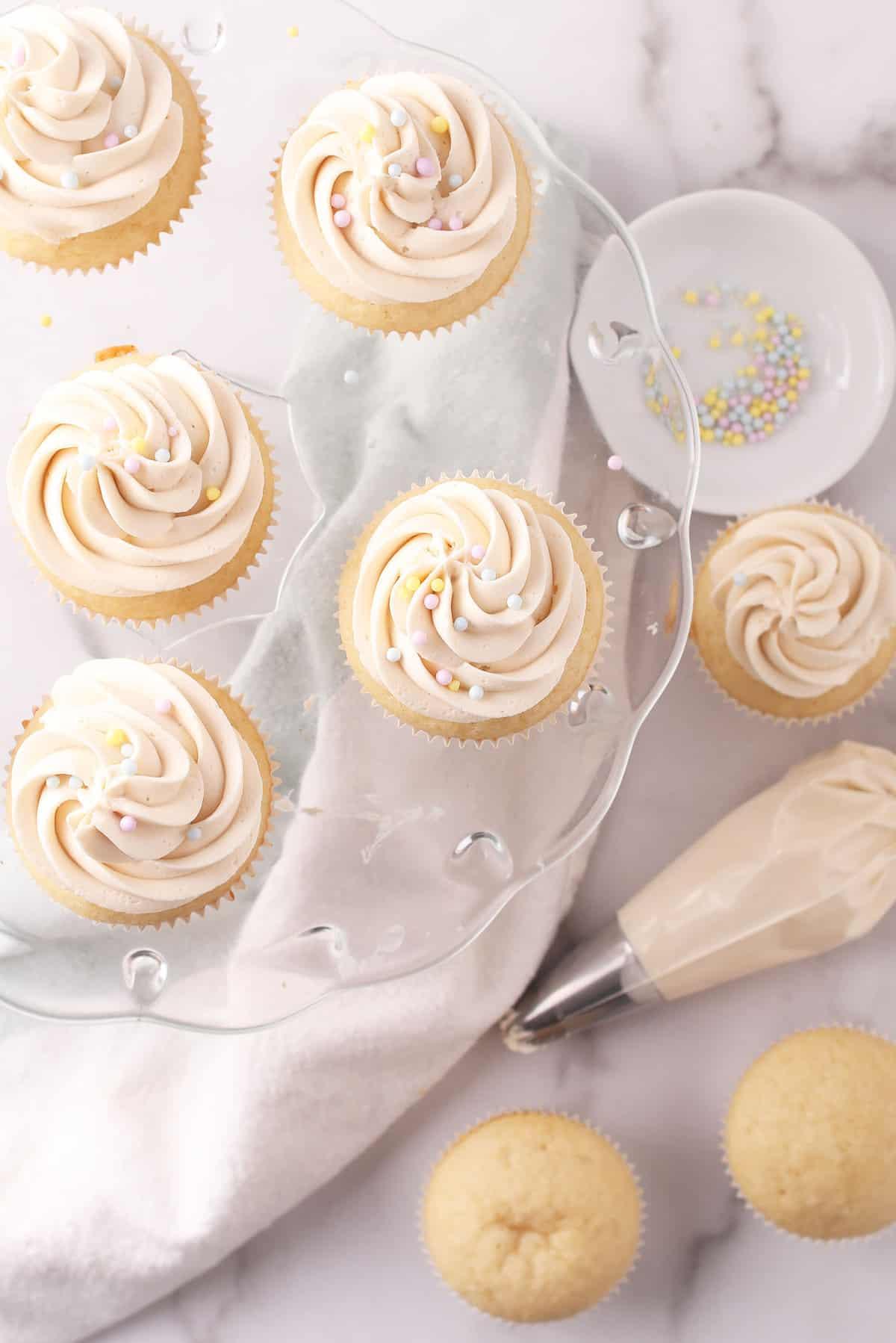 Vegan Vanilla Cupcakes on cake stand