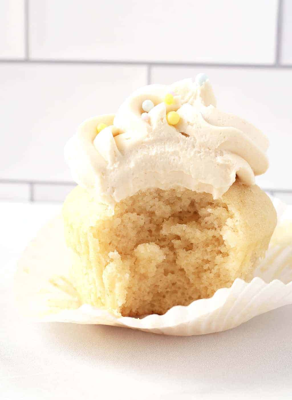 Vegan Vanilla Cupcake with bite
