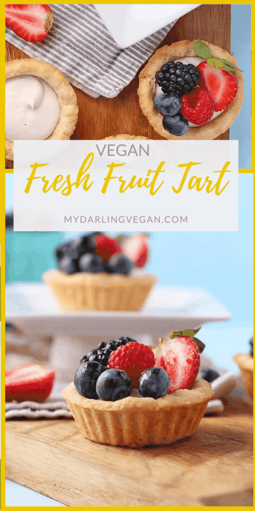 A vegan fruit tart made with a buttery, melt-in-your-mouth shortbread crust, filled with a sweet cream cheese, and topped with glazed berries for the perfect springtime treat. Bring this refreshing dessert to your next garden party or wedding shower.