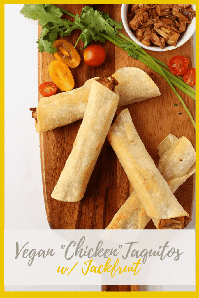 You're going to love these vegan taquitos! They are soft corn tortillas filled with seasoned jackfruit and salsa verde. So good! Dip them in a Southwest Ranch Dressing for a delicious Cinco de Mayo snack.