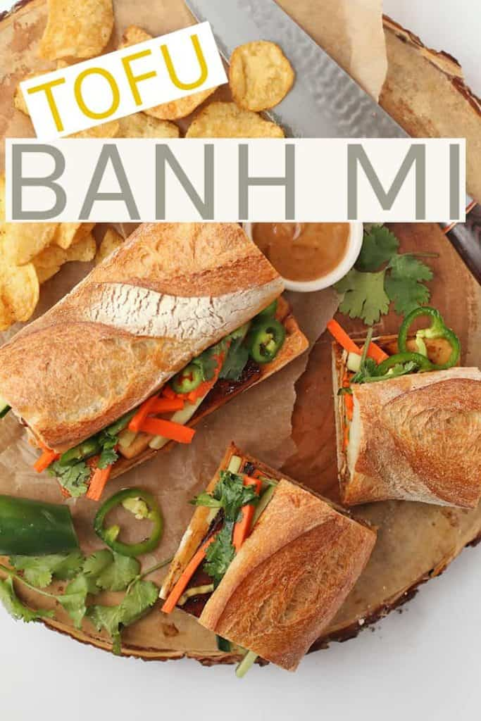 A delicious French/Vietnamese fusion, this sandwich is made with marinated tofu, fresh cucumbers and carrots, and creamy Banh mi sauce. All inside a chewy baguette for a hearty and delicious vegan lunch. #vegan #veganrecipes #tofu