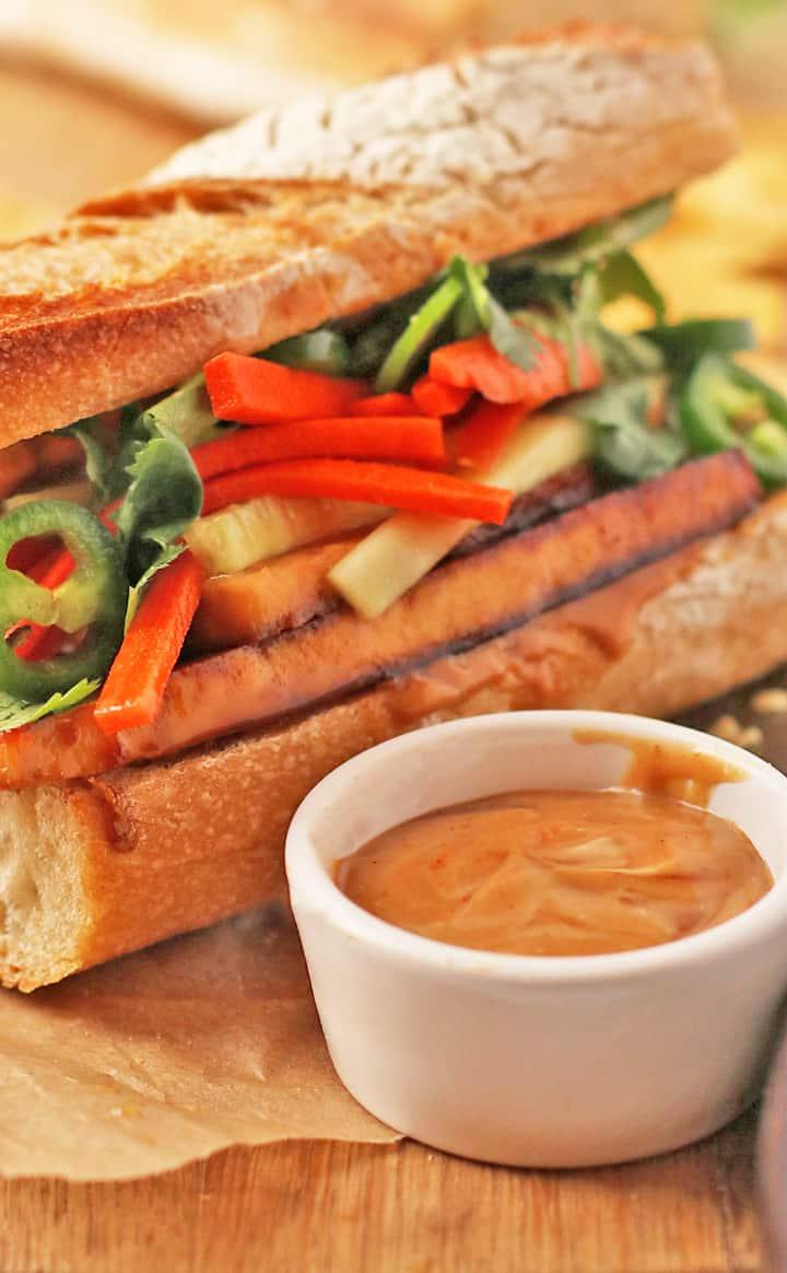 Vegan Banh mi sandwich with sauce