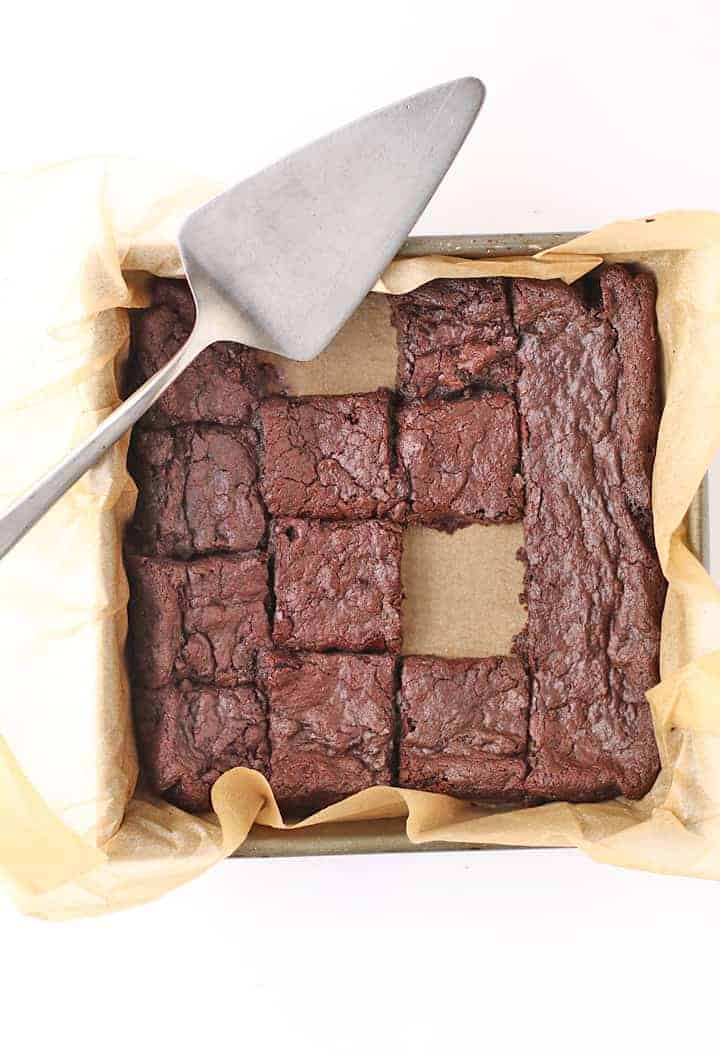 Easy Vegan Brownies cut into squares