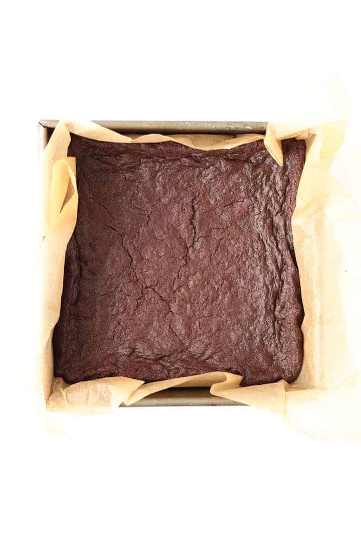 Easy Vegan Brownies in a baking pan