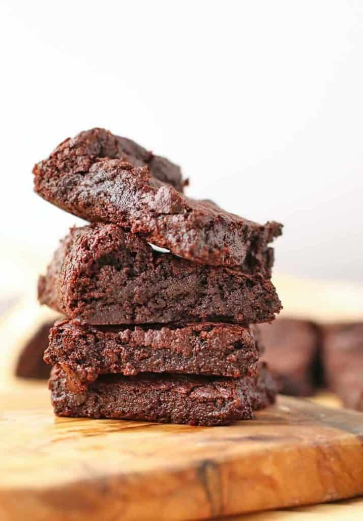 Stack of vegan brownies