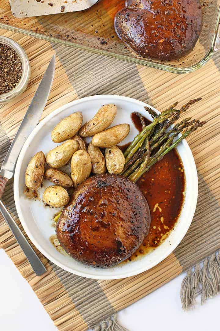 Portobello Steaks with roasted potatoes and asparagus