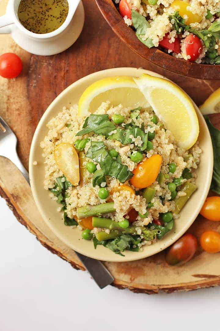Vegan Quinoa Salad on a plate with a fork