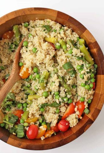 Vegan Quinoa Salad with Asparagus and Peas