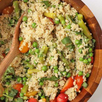 Vegan Quinoa Salad in a wooden salad bowl
