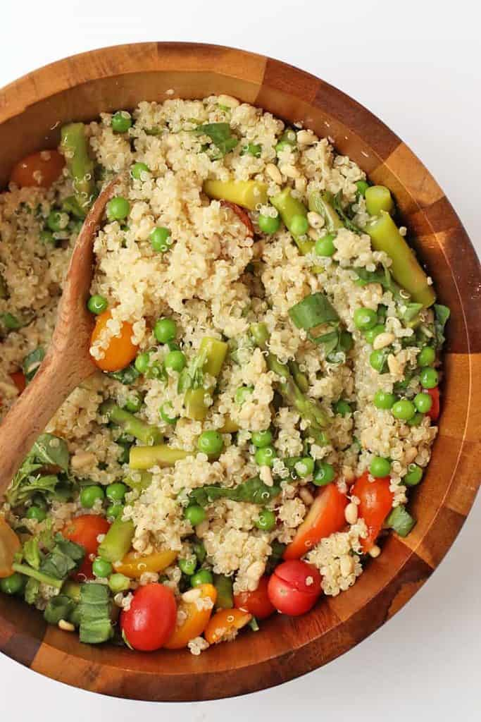 Vegan Quinoa Salad in a wooden salad bowl