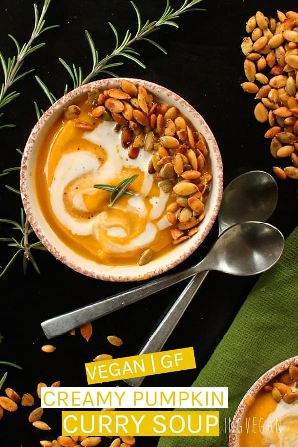 This vegan Pumpkin Curry Soup is unbelievably creamy and rich made with fresh autumnal vegetables and fresh cashew cream. A delicious fall dinner.  #vegan #soup #veganrecipes #fallrecipes #pumpkin #pumpkinrecipes #fallrecipes #vegansoup #curry