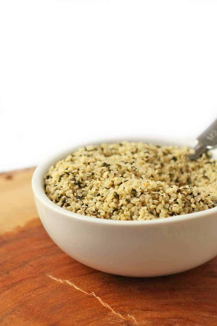 Hemp Seeds in a small white bowl