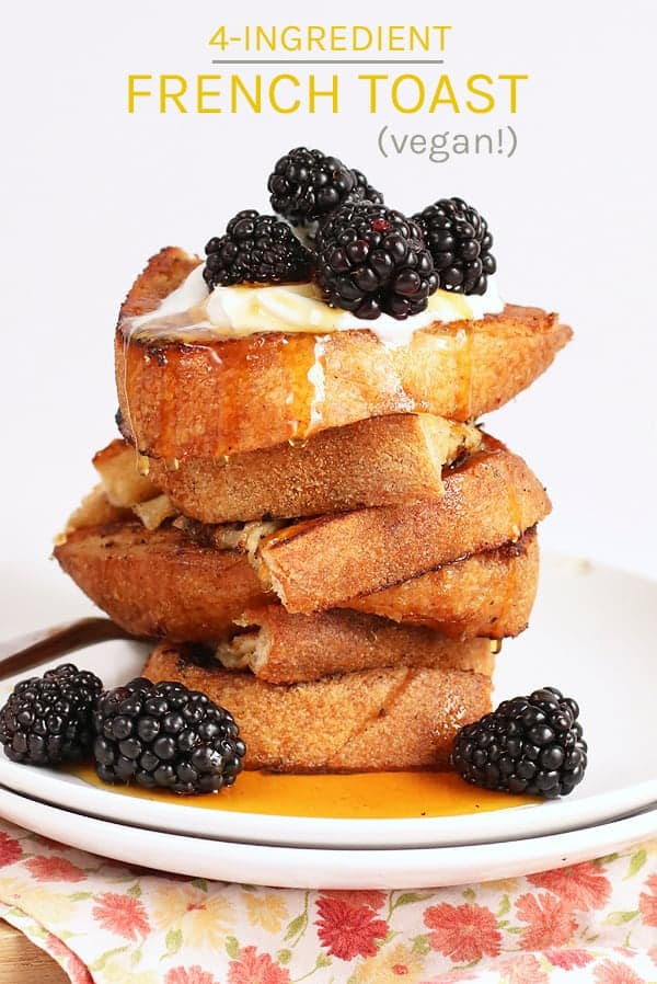 This simple vegan french toast is made with just 4 ingredients. Vanilla spiced flavored and topped with coconut whipped cream and fresh berries, this french toast is a delicious breakfast for all. #vegan #veganrecipes #veganbreakfast #breakfastrecipes #frenchtoast #veganfrenchtoast