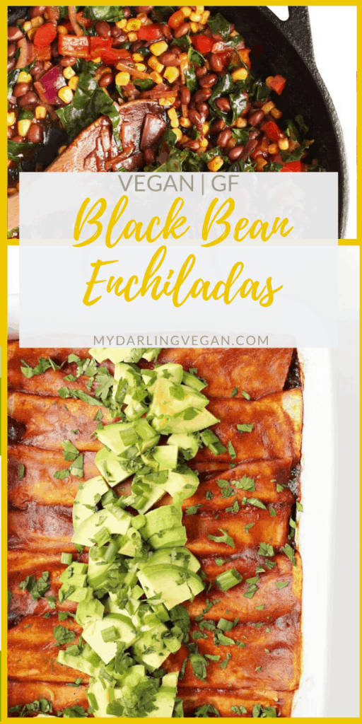 Black Bean and Kale Vegan Enchiladas made with Mission® Gluten Free Soft Taco Tortillas for a quick and satisfying weeknight meal; perfect for a family with dietary restrictions that doesn't want to compromise on taste.