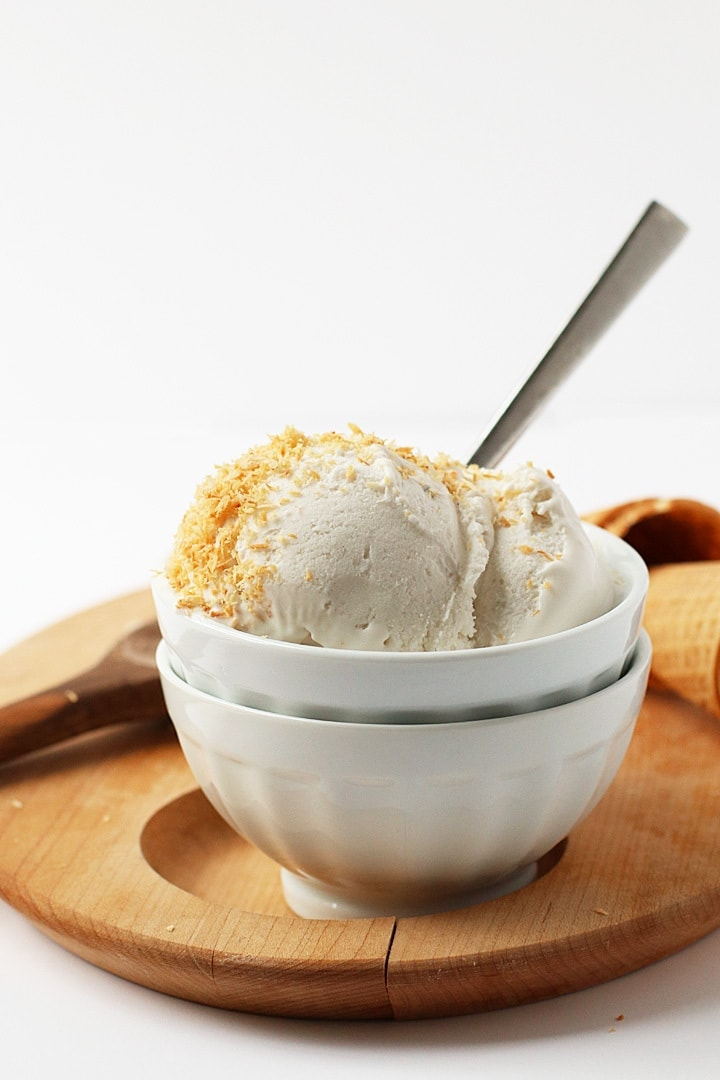 Coconut Milk Ice Cream in a white bowl