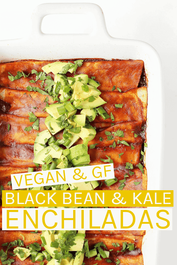 Black Bean and Kale Vegan Enchiladas made with @MissionFoodsUS Gluten Free Soft Taco Tortillas for a quick and satisfying weeknight meal; perfect for a family with dietary restrictions that doesn't want to compromise on taste. #vegan #veganrecipes #glutenfreedinner #vegandinner