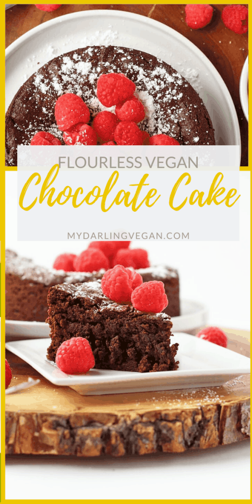 This rich and dense vegan Flourless Chocolate Cake is also gluten-free for a decadent dessert nearly everyone can enjoy. Made with just 7 simple ingredients for a quick and easy sweet treat.
