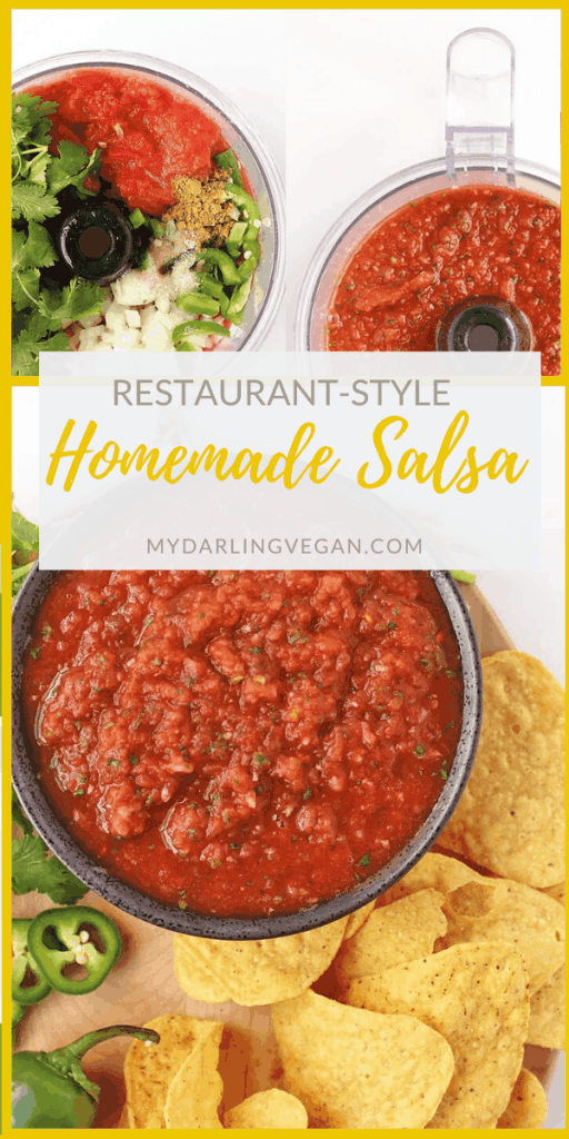 Make your salsa at home with this easy homemade salsa recipe. Made with just 8 ingredients and in under 5 minutes, you'll never need to buy your salsa at the store again.