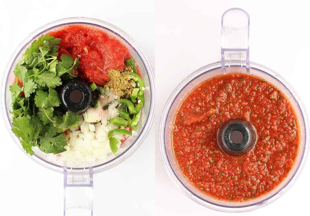 Homemade salsa in a food processor