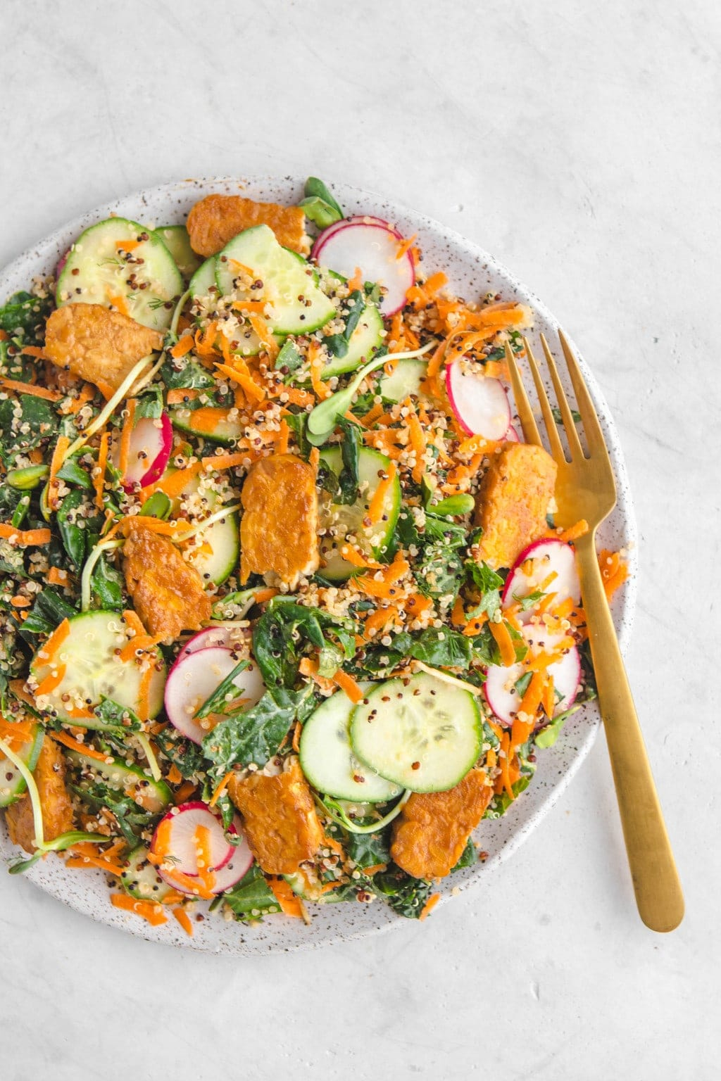 Kale Quinoa Salad with Maple Mustard Tempeh