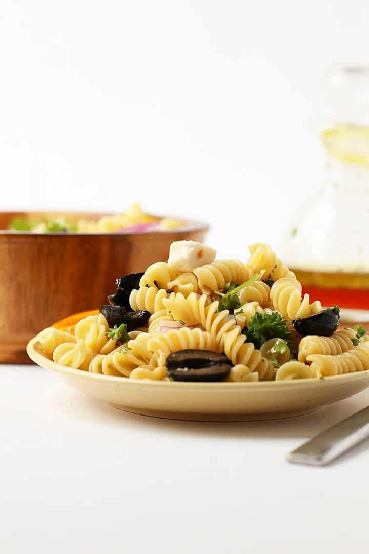 Vegan pasta salad on a white plate