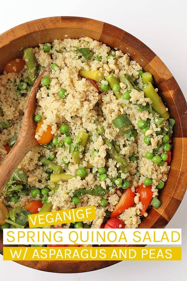 This easy vegan quinoa salad is mixed with asparagus, peas, and fresh basil then tossed in a lemony vinaigrette for a quick and simple springtime salad. Made in just 30 minutes.  #vegan #glutenfree #quinoasalad #veganglutenfreerecipes