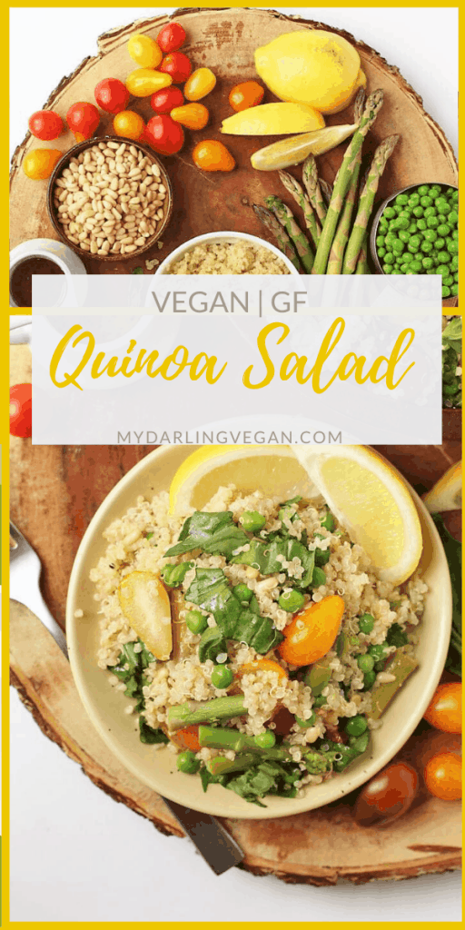 This easy vegan quinoa salad is mixed with asparagus, peas, and fresh basil then tossed in a lemony vinaigrette for a quick and simple springtime salad. Made in just 30 minutes.