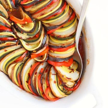 Finished ratatouille in a white baking dish