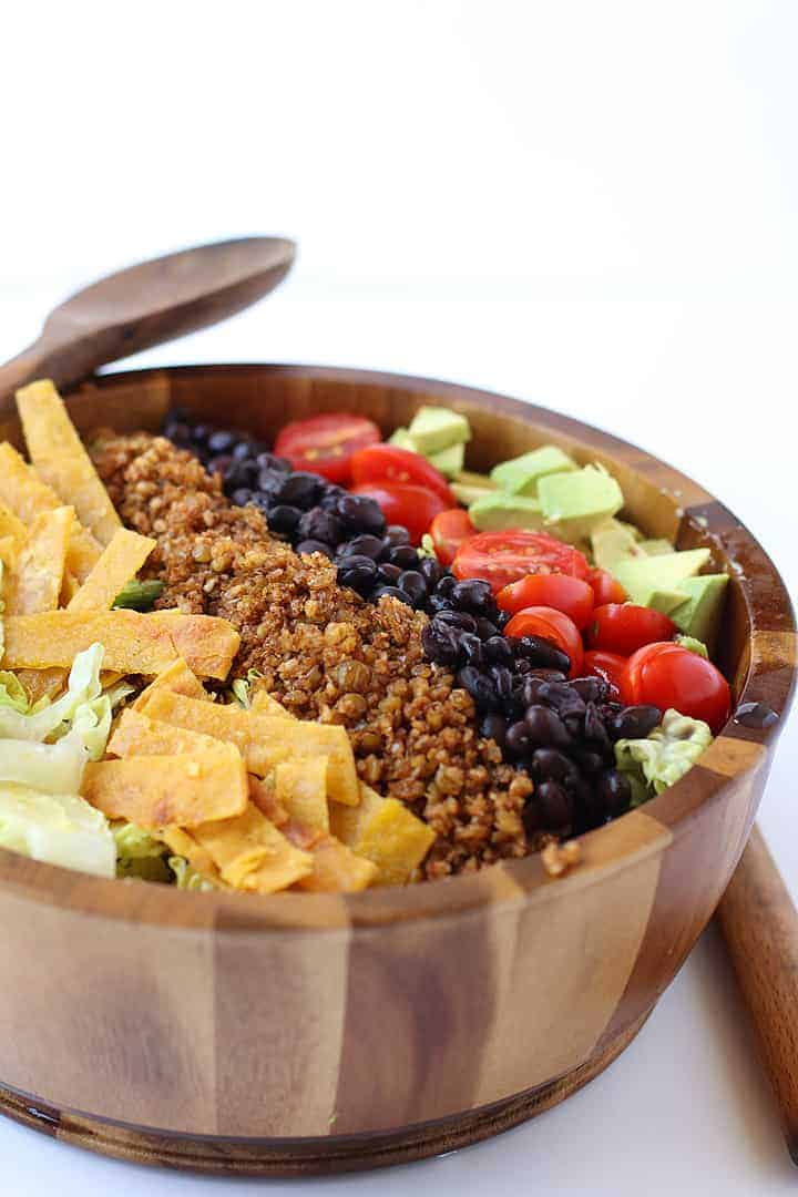 Vegan Taco Salad in a wooden bowl