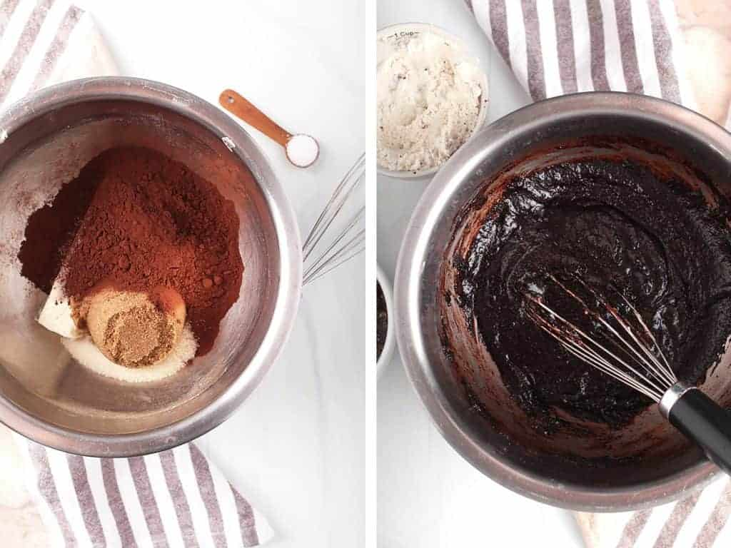 Butter, sugar, and cocoa powder melted together in a metal bowl.