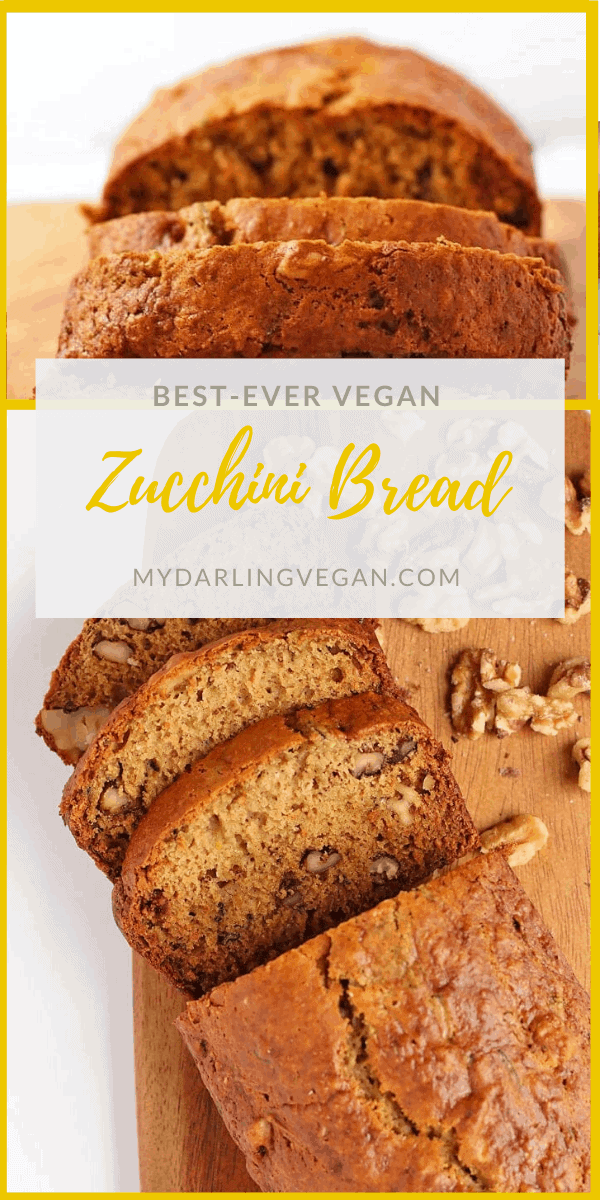 A simple and delicious vegan zucchini bread that is filled with zucchini and walnuts in every bite. Spiced with cinnamon, nutmeg, and cardamom, you're going to love the flavors in this classic bread.
