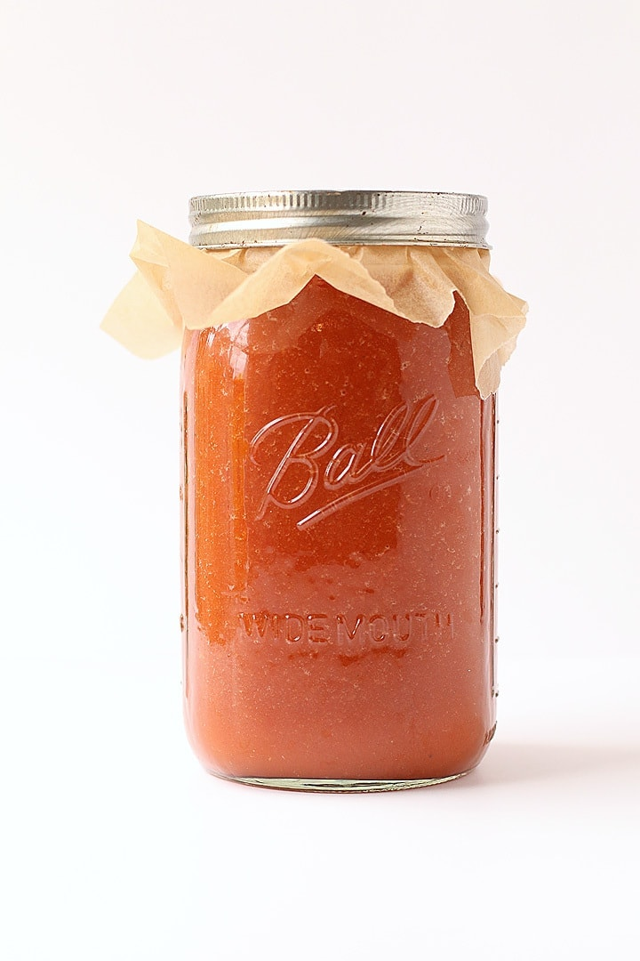 Jar of Bloody Mary Mix on white background.