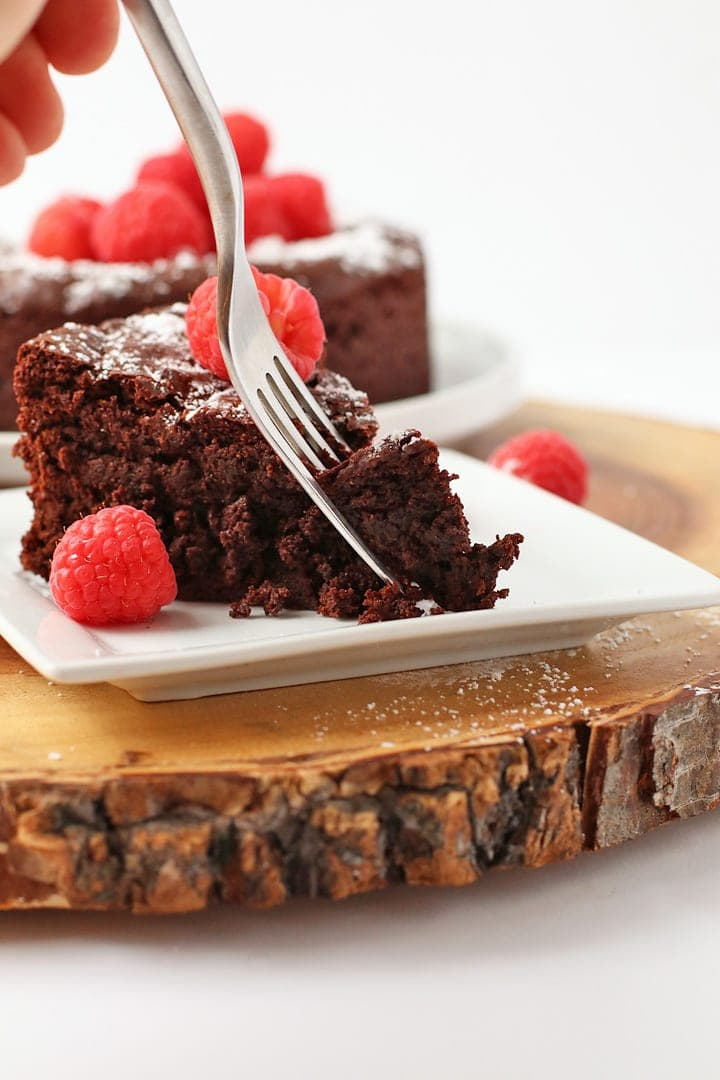 Slice of chocolate cake and a fork