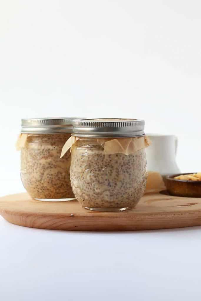 Two small Mason Jars of chia pudding