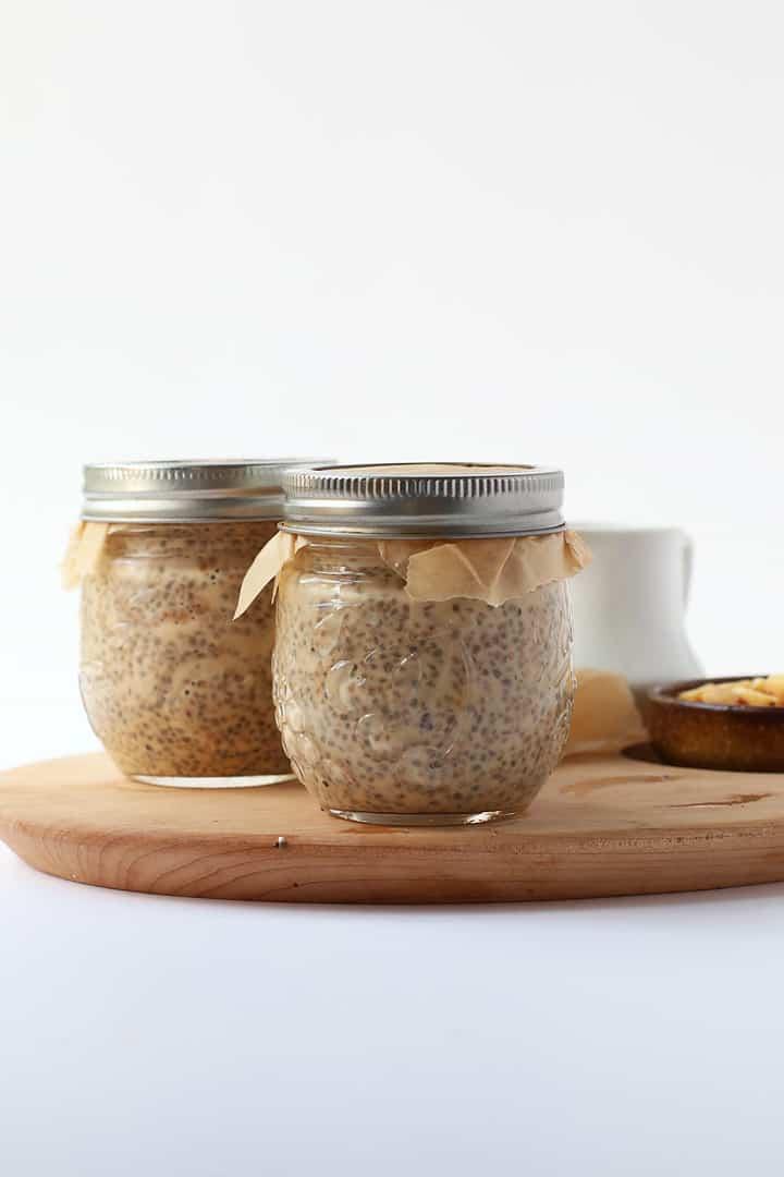 Peanut Cacao Chia pudding in a mason jar
