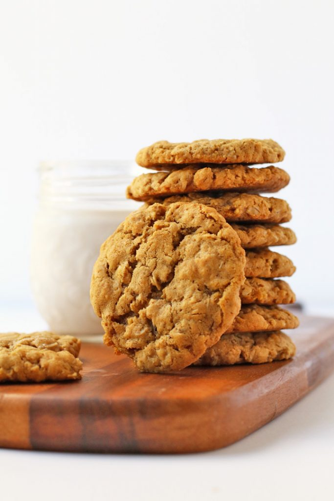 Stack of finished Vegan Oatmeal Cookies