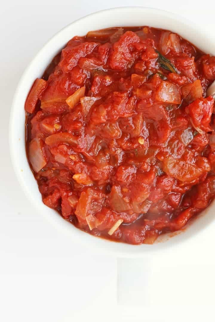 Homemade Marinara Sauce in a white bowl
