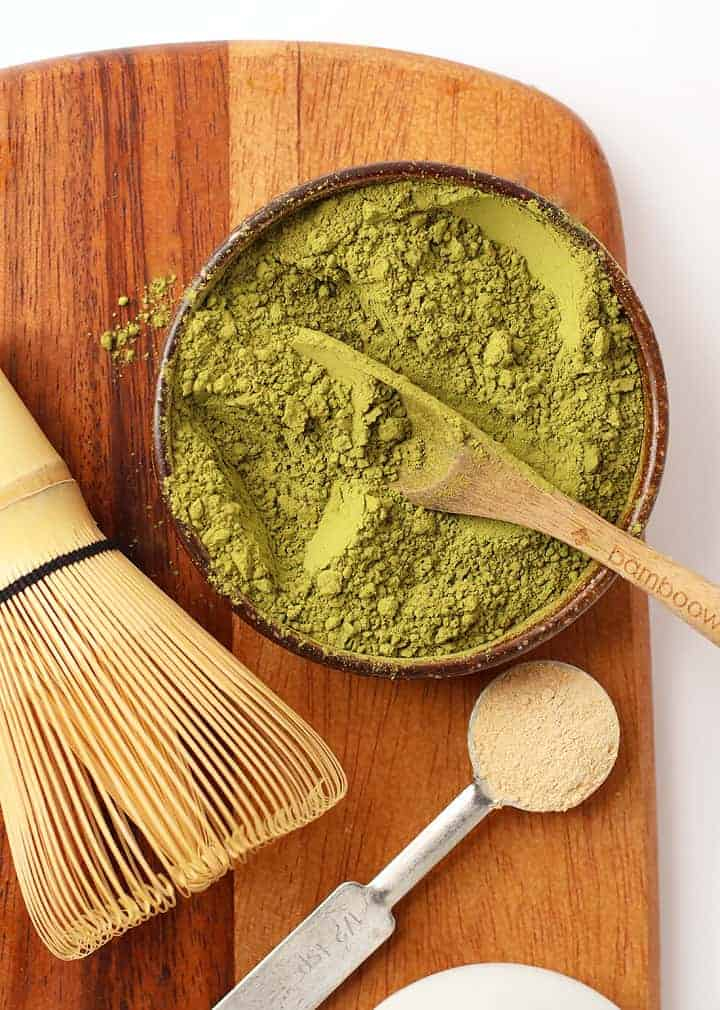 Matcha powder and a matcha whisk