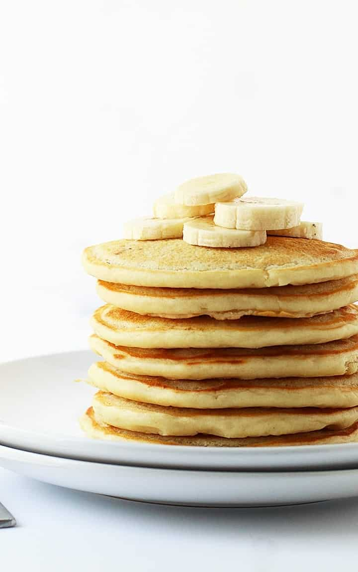 stack of vegan pancakes with banana