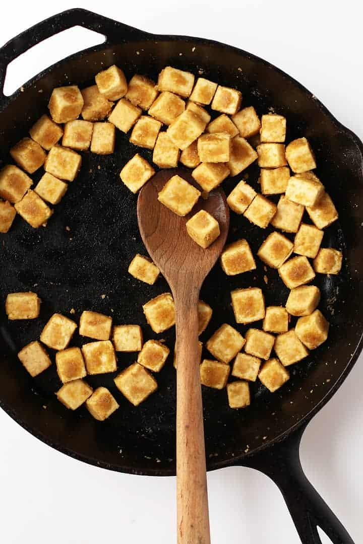 Crispy tofu in a cast iron skillet