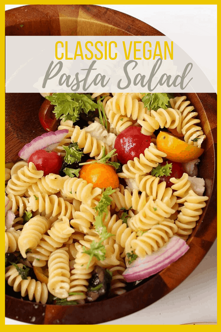 An easy Vegan Pasta Salad with olives, cherry tomatoes, and red onions all tossed in a Red Wine Vinaigrette for a quick and simple 20-minute meal.