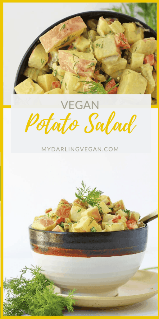 A vegan Potato Salad just the way you remembered it. Perfectly soft red skin potatoes mixed with fresh vegetables and herbs and tossed in a creamy zesty dressing for the perfect summer potluck dish.