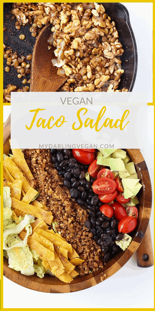 An easy and healthy Vegan Taco Salad. Made with a lentil/walnut taco meat, black beans, cherry tomatoes, and avocado and dressed with creamy avocado salsa for a wholesome, plant-based, gluten-free meal.
