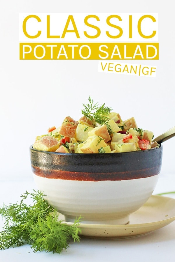 A vegan Potato Salad just the way you remembered it. Perfectly soft red skin potatoes mixed with fresh vegetables and herbs and tossed in a creamy zesty dressing for the perfect summer potluck dish. #vegan #veganrecipes #glutenfree #potatosalad