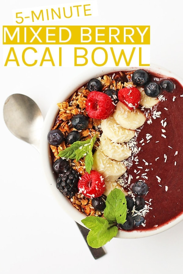 Start your day off right with this Mixed Berry Acai Bowl filled with fruits, superfoods, and the best vitamins and minerals. Made in just 5 minutes for a quick, wholesome, and delicious breakfast. #vegan #smoothie #smoothiebowl #acai #acaibowl #superfoods