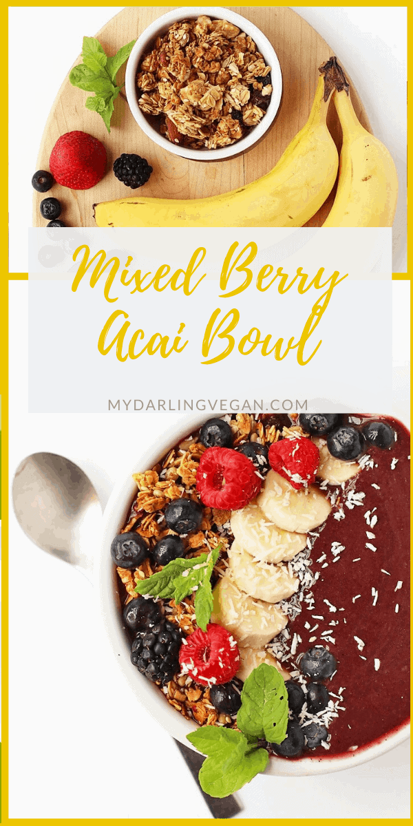 Start your day off right with this Mixed Berry Acai Bowl recipe filled with fruits, superfoods, and the best vitamins and minerals. Made in just 5 minutes for a quick, wholesome, and delicious breakfast.